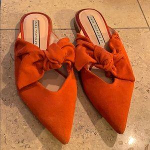 Zara - Orange Suede Mules